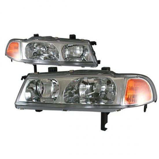 92-96 Honda Prelude, Crystal Headlights (Chrome)