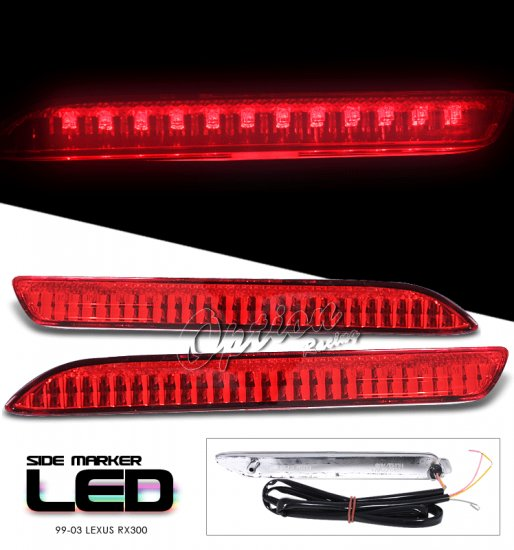 99-03 Lexus RX300, LED Side Markers, Red