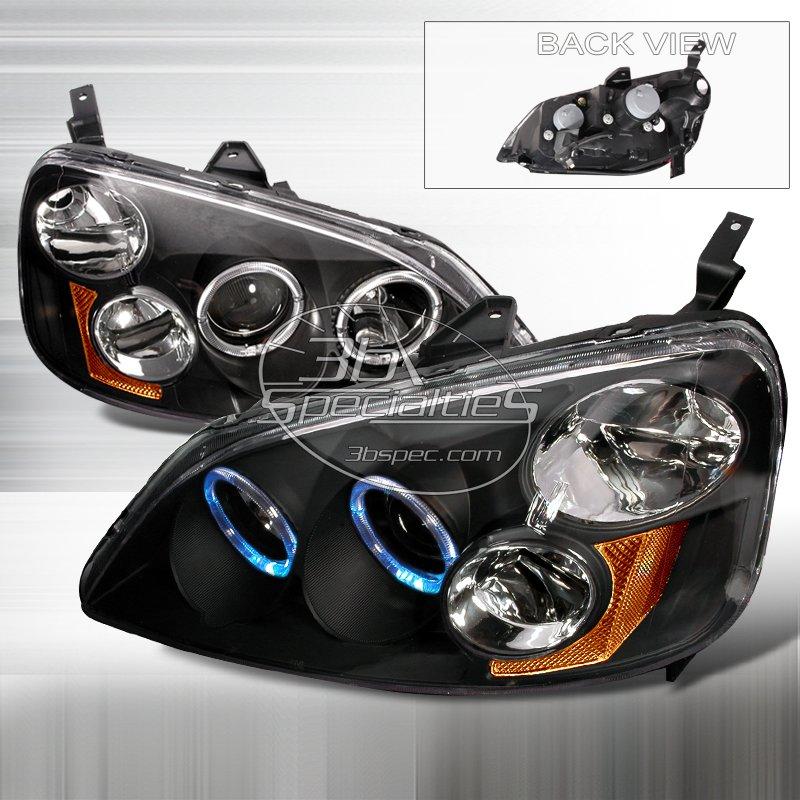 Spec-D: 01-03 Honda Civic 2Dr/4Dr, Projector Headlights (Black)