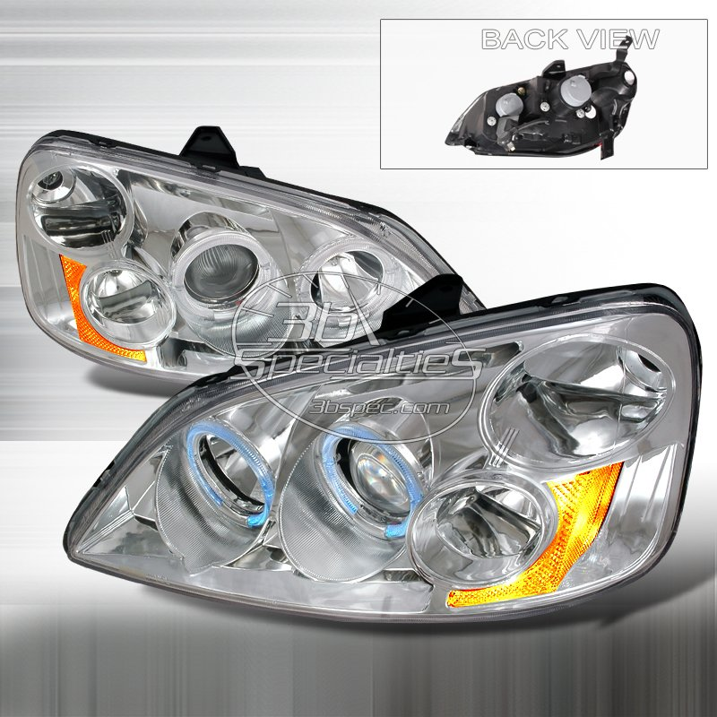 Spec-D: 01-03 Honda Civic 2Dr/4Dr, Projector Headlights (Chrome)