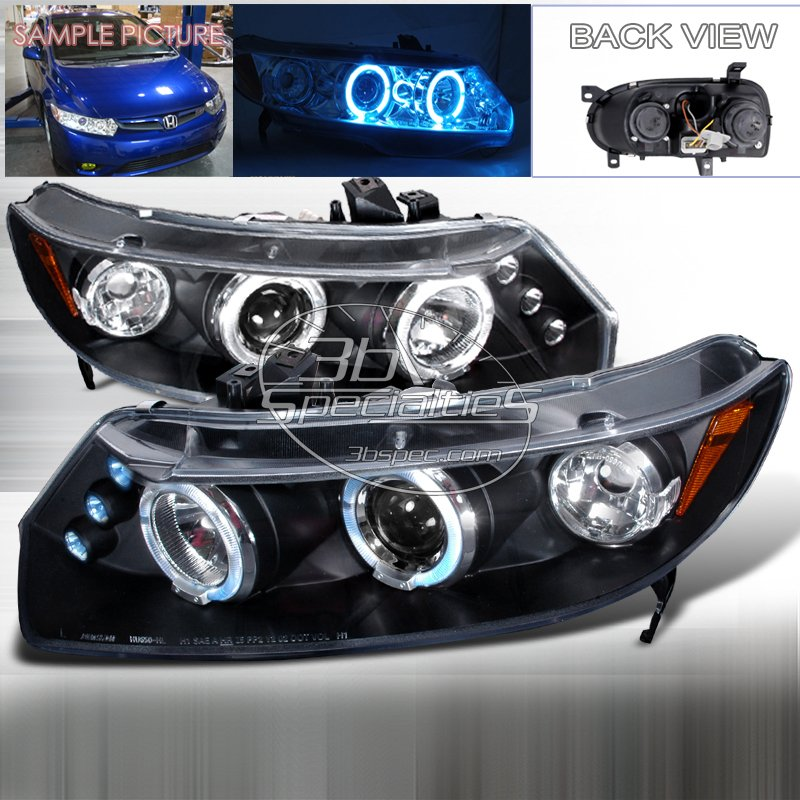 Spec-D: 06-11 Honda Civic 2Dr, Projector Headlights (Black)