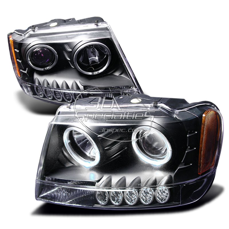 Spec-D: 99-04 Jeep Grand Cherokee; Projector Headlights (Black)
