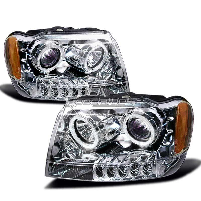 Spec-D: 99-04 Jeep Grand Cherokee; Projector Headlights (Chrome)
