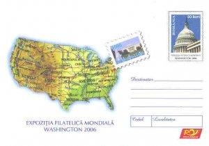 USA MAP on postal stationery ROMANIA 2006