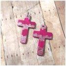 Elina Pink Cross Wood Earrings