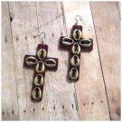 Keilani Cross Wood Earrings