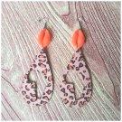 Bianca Orange Animal Print Teardrop Wood Earrings