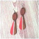Scarlet Red Striped Wood Teardrop Earrings