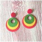 Regina Red, Yellow, Green Wood Earrings