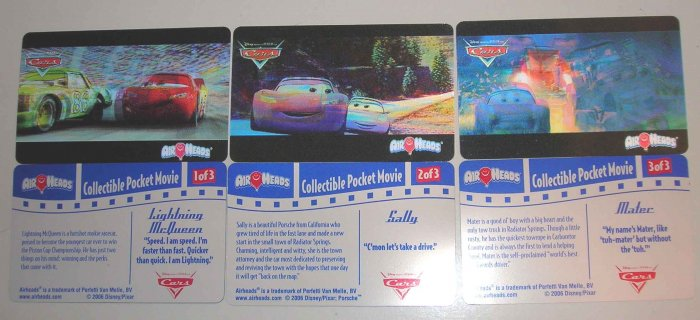 Disney CARS 3 Card Lenticular Airheads Candy Promo Set  LE
