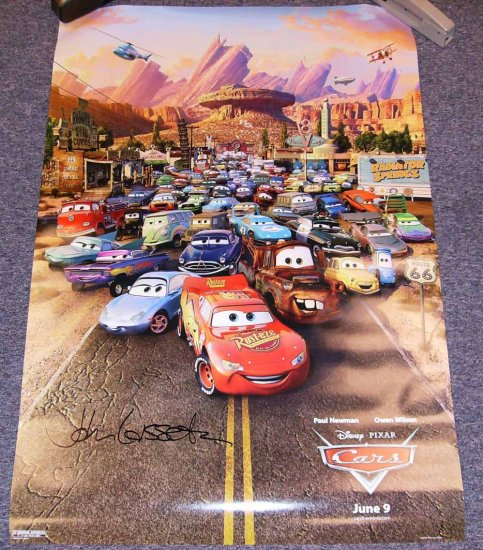 Disney Pixar Cars Theatrical Release (one sheet) Poster Signed By John Lasseter License to Win (*S)