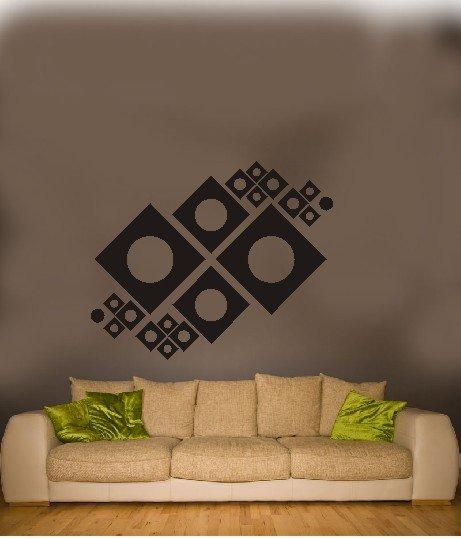 "vinyl wall art mechanical squares decal (46"" x 38"")"