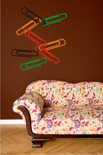 vinyl wall art decal huge paper clips | 11 feet total