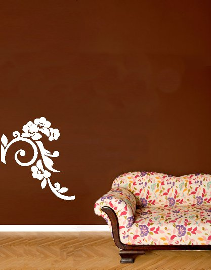 vinyl wall art decal . medium japanese floral . 22 inches x 25 inches