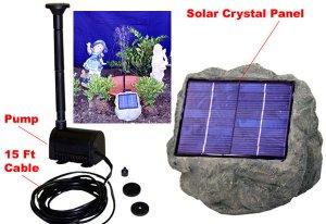 Solar Panel Rock w pump fountain