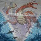 Fantasy Liquid Blue T-shirt red water dragon swimming XL  NWOT