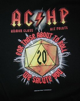 RPG gaming black T-shirt AC / HP for those about to roll / NEW size S