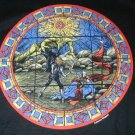RPG gaming black T-shirt stained glass window dragon fighter design / NEW size L