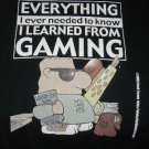RPG gaming T-shirt black Everything I needed to know I learned from gaming / size S