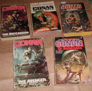x5 vintage Conan books Lancer Frazetta Duillo covers