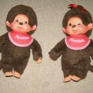 Monchichi vintage boy and girl toy plush monkey babies