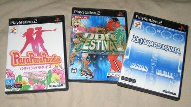 PS2 PlayStation2 x3 Japan Games KeyBoardMania ParaParaParadise DDR Festival