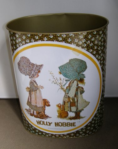 Vintage 1970s Metal Holly Hobbie Trash Can Excellent Condition Cheinco