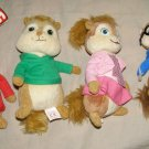 "Ty Alvin and the Chipmunks Brittany 6"" Plush Chipette + Alvin Simon & Theodore"