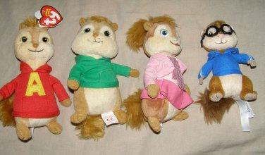 "Ty Alvin and the Chipmunks Brittany 6"" Plush Chipette + Alvin Simon & Theodore"