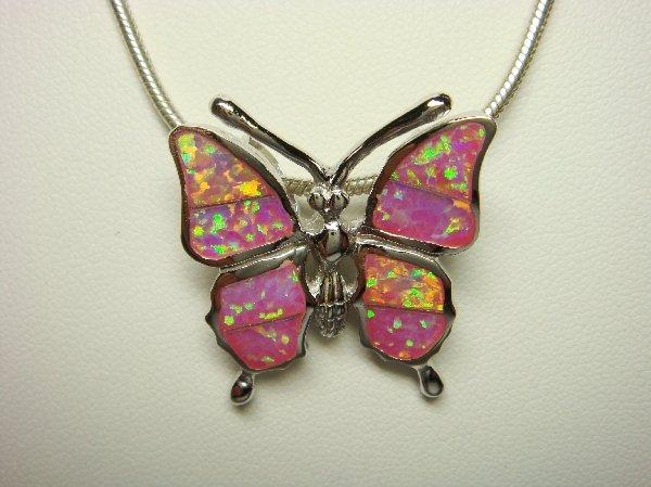 Sterling Silver Pendant Pink Opal Butterfly