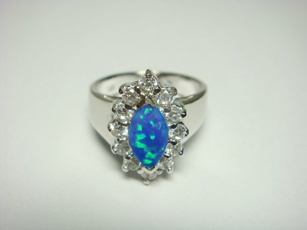 925 Sterling Silver Ring Hawaiian Blue Marquis Opal & CZ
