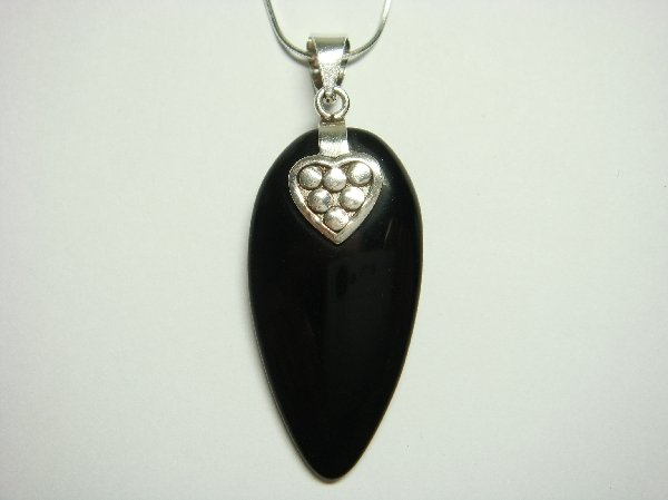 Sterling Silver Pendant Heart with Onyx Stone