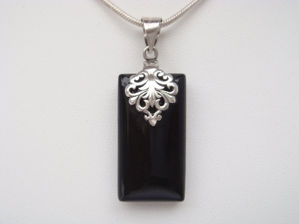 Sterling Silver Pendant with Rectangle Onyx Stone