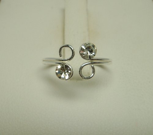 925 Sterling Silver White Crystal Adjustable Toe Ring