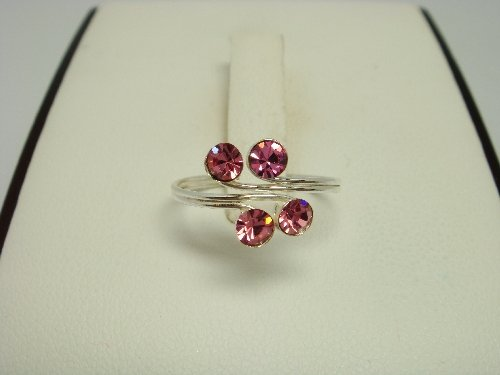 925 Sterling Silver Rose Pink Crystal Toe Ring