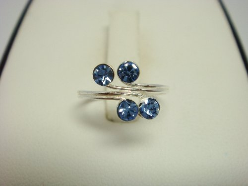 925 Sterling Silver Topaz Blue Crystal Toe Ring