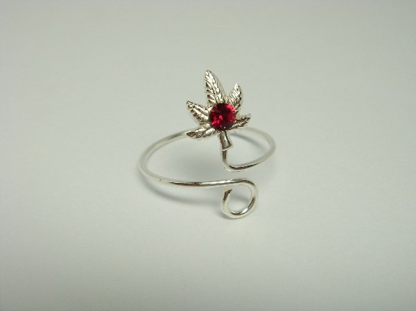 Sterling Silver Rose Pink Crystal Toe Ring
