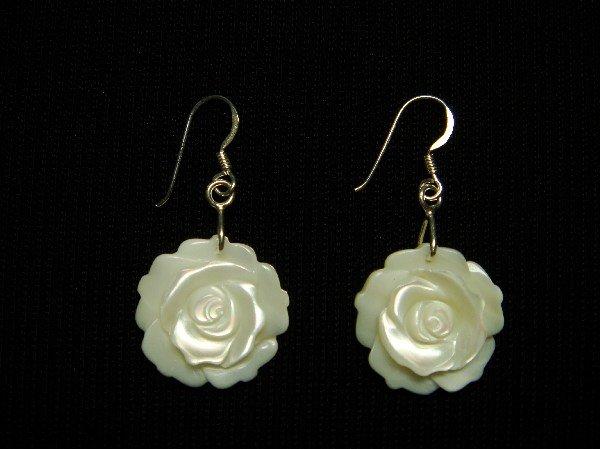 Sterling Silver Dangle Earrings Mother of Pearl Rose
