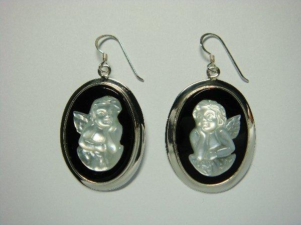 Sterling Silver Dangle Oval Earrings Mother of Pearl Angel