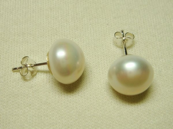 Sterling Silver Stud Earrings Set Button White Cream Pearl