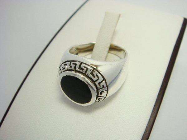 925 Sterling Silver Men's Round Onyx Greek Key Ring