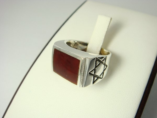 Sterling Silver Man's Rectangle Carnelian Star of David Ring