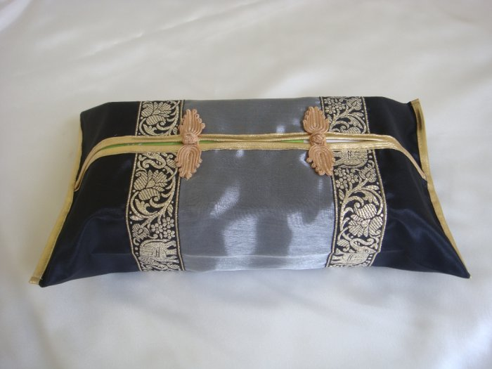 Thai Silk Black Gray Gold Elephant Flower Embroidery Tissue Box Cover