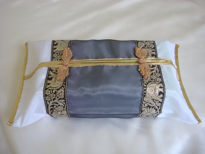 Thai Silk White Gray Gold Elephant Flower Embroidery Tissue Box Cover