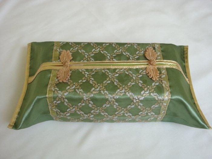 Thai Silk Green Gold Classy Checkered Embroidery Tissue Box Cover