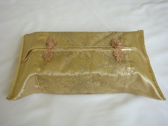 Thai Silk Gold Classy Flower Design Embroidery Tissue Box Cover