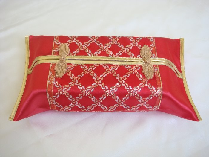Thai Silk Red Gold Classy Checkered Embroidery Tissue Box Cover