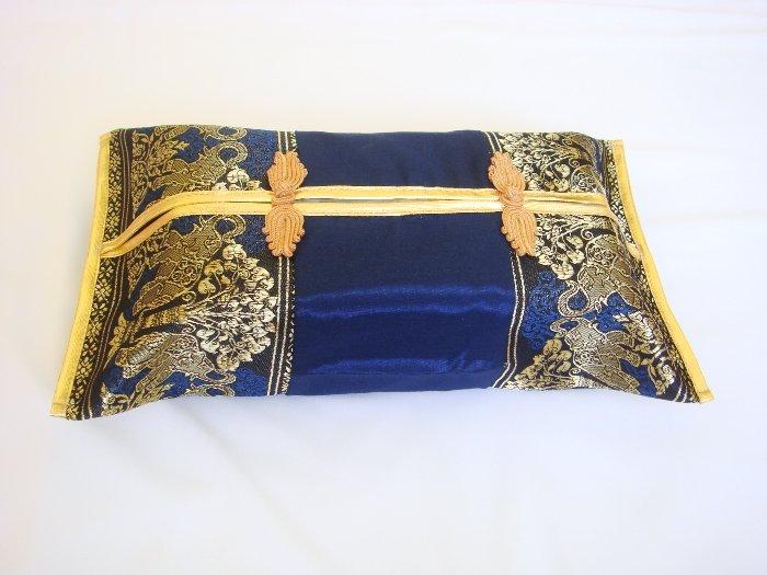 Thai Silk Blue Gold Elephant Tree Embroidery Tissue Box Cover