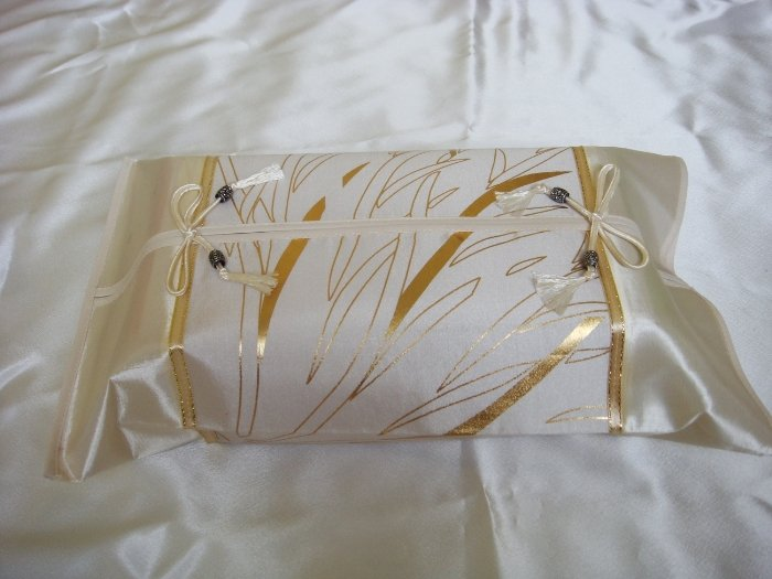 Thai Silk Cream Gold Flower Leaf Classy Tissue Box Cover