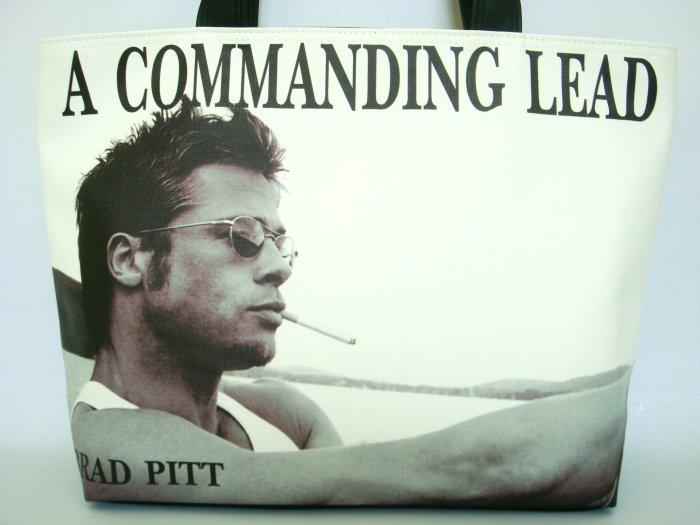Brad Pitt Commanding Lead Wide Tote Shoulder Bag Purse